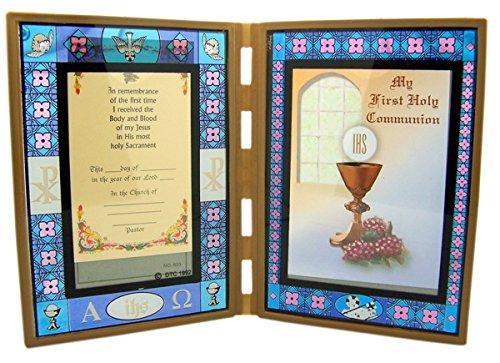 First Communion gebeizt Glas zusammenklappbar Bilderrahmen, 17,8cm, glas, Chalice, 3 1/2 x 5 inch (Party First Favors Communion)