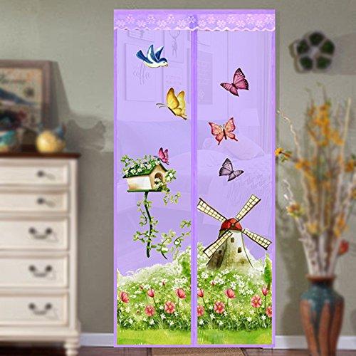 Netz-Tür, freihändiges und automatisches Schließen, verstärkt, mit Haken und Schlaufen, Anti-Moskito, Kleinkind und Haustierfreundlich, violett, 90 * 210