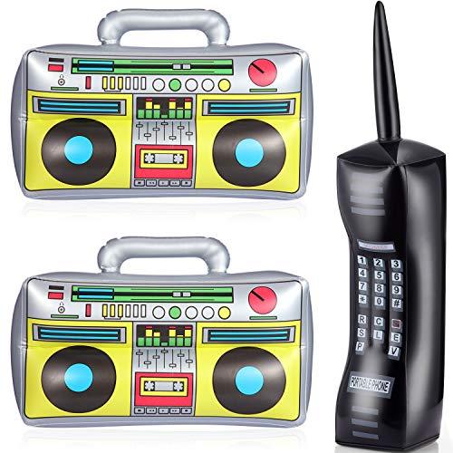 Gejoy 3 Stücke Aufblasbare Radio und Telefon Blow Up Handy PVC Aufblasbare Spielzeug Gefälschte Aufblasbare Boom Box und Telefon 80s Party Zubehör für Männer Damen