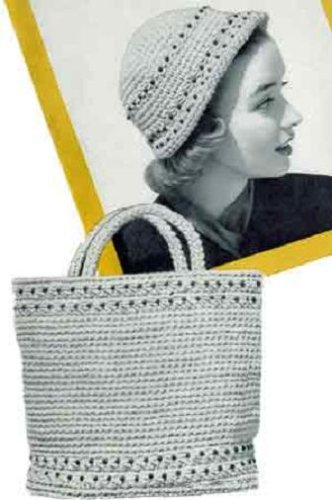 CROCHETED BEADED TOTE BAG & MATCHING CLOCHE HAT - 2 Vintage 1950's Crochet Patterns (ePatterns) - Instant Download Ebook - AVAILABLE FOR DOWNLOAD to Kindle ... girls, yarn, crafts, diy) (English Edition)