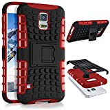 ONEFLOW Samsung Galaxy S5 | Hülle Silikon Hard-Case Rot Outdoor Back-Cover Extrem Stoßfest Schutzhülle Grip Handyhülle für Samsung Galaxy S5 / S5 Neo Case Rückseite Tasche