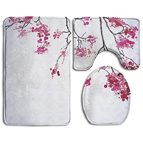 BetterShopDay Cherry Blossom Cute Soft Comfort Flannel {Bathroom,Washroom} Mats,{Non-Slip,Anti-Skid} Absorbent Toilet Seat Cover Bath Mat Lid Cover,3pcs/Set Rugs -