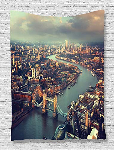 y London View Decor Panoramic Picture of Thames River and Tower Bridge Picture Print Bedroom Living Kids Girls Boys Room Dorm Accessories Wall Hanging Tapestry Teal Cream ()