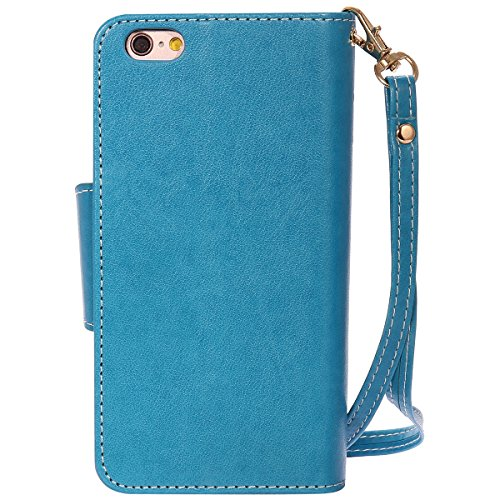 Custodia iPhone 6 - Cover iPhone 6S - ISAKEN Accessories Cover in PU Pelle Portafoglio Tinta Unita Custodia, Elegante Embossed Rose Pattern Design in Sintetica Ecopelle Libro Bookstyle Wallet Flip Por ragazza: blu