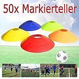 EMOTREE 50er Set Markierteller Markierungsteller Markierungsscheiben Hütchen Pylonen Füßball Training (5 Verschiedene Farbe) mit Ständer