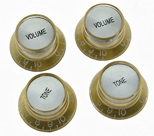 kaish 4x Gitarre Reflektor Knöpfe Gold W/Silber Gap Top Hat Knöpfe für Epiphone Les Paul SG Les Paul Gold Top