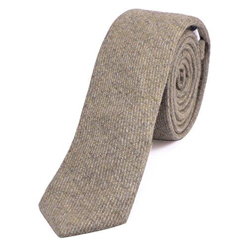 DonDon Herren Krawatte 6 cm Baumwolle braun-grau gestreift