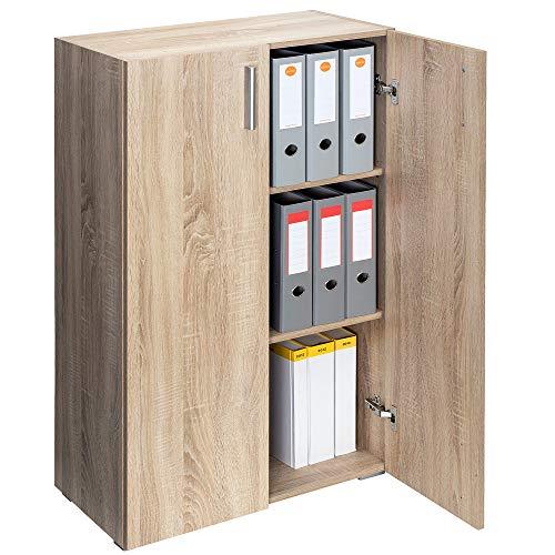 Deuba mobile vela armadio 115,5x60x31cm 2 porte 3 ripiani soggiorno ufficio mobile archiviare archiviazione marrone effetto rovere