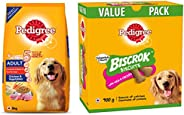 Pedigree Adult Dog Food, Chicken & Vegetables, 11 Kg Pack & Biscrok Biscuits Dog Treats (Above 4 Month