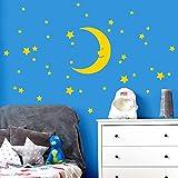 Wandaro W3449 Wandtattoo Mond Sterne I Gelb I Aufkleber Selbstklebend Kinderzimmer Mächen Jungen Schlafzimmer Wandaufkleber Wandsticker