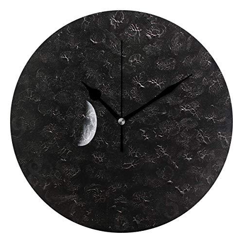 Preisvergleich Produktbild Xukmefat Wanduhr Late Night Moon Silent Non Ticking Dekorative runde Digitaluhren für Wohnkultur
