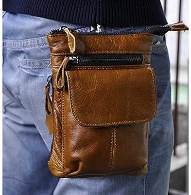 Le 'aokuu Homme Vintage Petit sac Messenger épaule sac en cuir véritable taille Fanny Pack