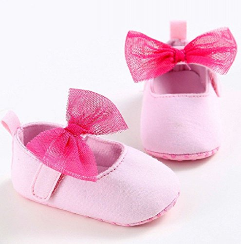 Baby Schuhe,Auxma Baby Bogen Knoten weiche Kleinkind Schuhe Für 0-18 Monate (11 0-6 M, Rose) Rose