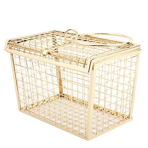 HQADIER Maschendraht Metall Hollow Handtasche Abend Clutch Damen Taschen Abendtaschen Abendtaschen Mobile Handtaschen Eisen Net Taschen,Gold - Gold-mesh-kupplung