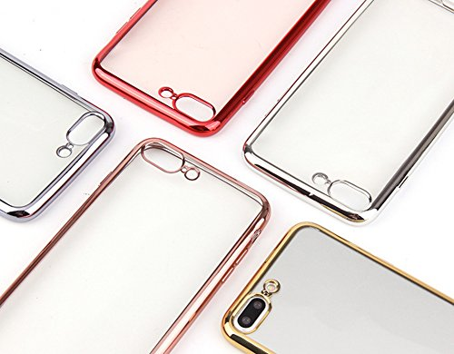 Qingsun Souple TPU Silicone Cover pour iPhone 7Plus Soft Clear TPU Case Cover Housse Souple de Protection Coque pour Iphone 7 plus Mince Léger Flexible Anti Scratch Shock Anti Rayure Anti Choc, Argent Gris