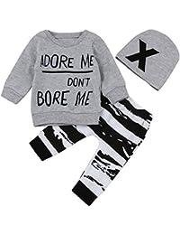 Ropa Bebe Niño Otoño Invierno,Fossen 3PC/ Conjuntos Camisetas de Manga Larga + Pantalones + Sombrero,Estilo de Animal