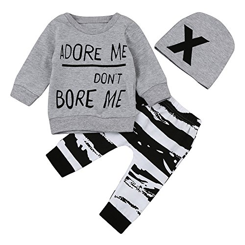 Zhen+ Baby Jungen Kleidung Set Pulli Spielanzug Jogginganzug Kappe Outfits 1 Pullover+ 1 Hosen + Hut Freizeitanzug Spielanzug Bekleidungssets Freizeitanzug Spielanzug (18 Monat)