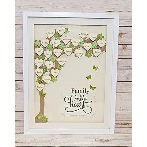 Árbol de familia, gran tamaño, 40x 30cm, personalizado, hecho a mano, para regalo