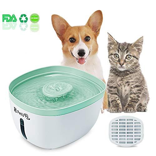 Pet-U Katzen Trinkbrunnen 2.2 Liter Automatischer Smart Haustier Wasserbrunnen für Hunde und Katzen mit Filter Wasserspender