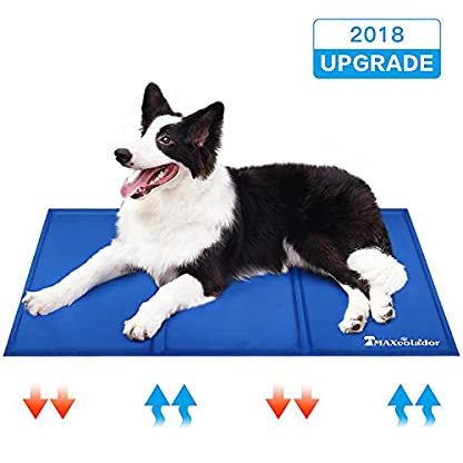 Lauva Dog Cool Mat, Dogs Self Cooling Non-Toxic Gel Mat Pads Mattress Pet Cat Cool Beds Extra Large for Dog Crates… 1