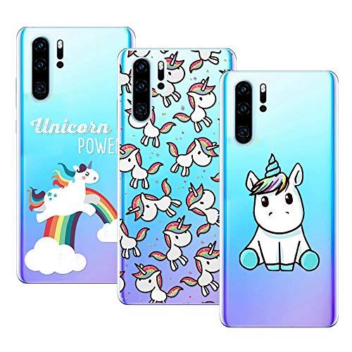 Young & Ming Cover per Huawei P30 PRO, (3 Pack) Morbido Trasparente Silicone Custodie Protettivo TPU Gel Case, Unicorno