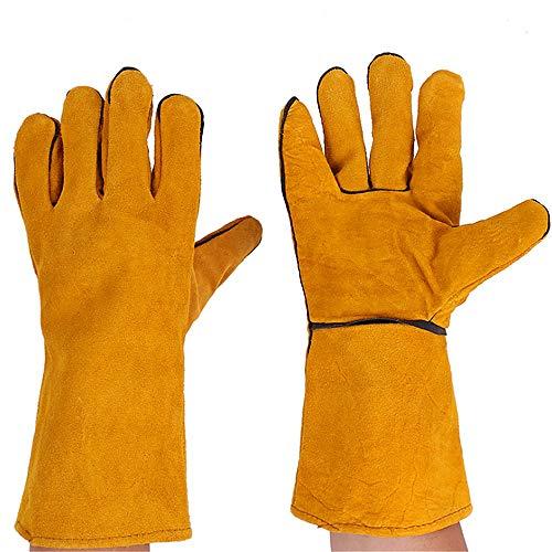 Schweißhandschuhe 3 paar 35 cm lange multifunktions schweißen löten handschuhe hitze feuerfeste sicherheit arbeitshandschuhe für mig wig arc mma lederhandschuhe für ofen grill kamin ofen ofen topf hal - Arc Kamin