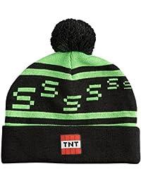 Minecraft - Cuffia Creeper TNT berretto con pon pon nero e verde 5920a1f09223