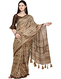 c1f2be13b50fd3 EthnicJunction Khadi Silk Saree With Integrated Bordered Plain Unstitched  Blouse Piece(Brown Flora