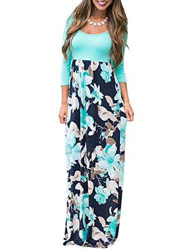 Memoryee Floral Printed Maxi Dress For Women Autumn 3/4 Sleeve Formal Casual Tunic Long Fashion