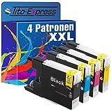 PlatinumSerie® 4x Druckerpatrone XXL kompatibel für Brother LC1240 Black Cyan Magenta Yellow Drucker Brother DCP-J525W DCP-J725DW DCP-J925DW MFC-J430W MFC-J5910DW MFC-J625DW MFC-J6510DW MFC-J6710DW MFC-J6910DW MFC-J825DW MFC-J835DW je 30ml Black und 20ml Color