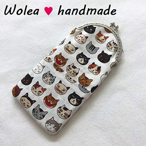 WoleaHandmade Handyhülle Stoff Handytasche Brillenetui iPhone 6,7,8, Samsung Huawei Lesebrille Sonnenbrille Katze Cat