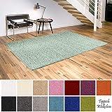 Shaggy-Teppich | Flauschige Hochflor Teppiche für Wohnzimmer Küche Flur Schlafzimmer oder Kinderzimmer | Einfarbig, schadstoffgeprüft, allergikergeeignet (Mint Grün, 160 cm rund)