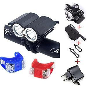 LED Luz Linterna LáMPARA TORCH frontal Cabeza CREE XM-L U2 5000 lúmenes LED de bicicleta /bici lámpara Luz LED frontal para manillar de bicicleta bicicletas ( 4 modos) con 4x16850 batería y cargador & 2 x Luz Luces L ámpara Trasera para Bici Bicicleta (negro, 2 led)