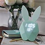 NAOYINXI Digital Wecker Nacht LED Licht Thermometer Wiederaufladbare Tisch Wanduhren Kaninchen Form, Blue