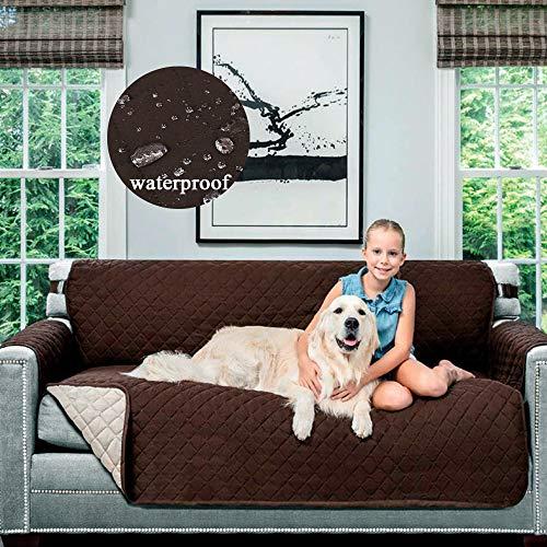 DDZY 2 Seiten-Couch-Abdeckung, für Sofa, Haustiere, Hunde, Sofa, Möbel, wasserfest, Rutschfeste Armlehne, Sessel-Kissen, Textil, braun, 180 * 226cm (Stuhl-arm-protektoren)