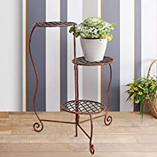 "Furnish Craft Beautiful Flower Plant Stand with Flowers for Home Décor (Copper Brown, Size-10.1""x13""x28)"