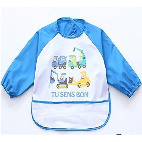 oral-q Unisex niños Childs artes manualidades pintura delantal bebé babero impermeable con mangas y bolsillo, 6–36meses, una luz azul de pato, juego de 1de oral-q