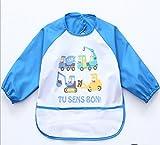 Oral-Q Unisex Bambini Arts Craft pittura grembiule bambino impermeabile Bavaglino con maniche e tasca, 6 - 36 mesi, Set di 1 (B blu scuro lettere)