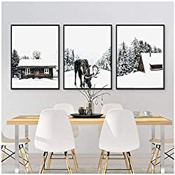 Winter Forest Moose Christmas Wall Art Canvas Poster Print Snow Trees Forest Painting Winter Photography Picture Home Room Decor-50x70cmx3 No Frame