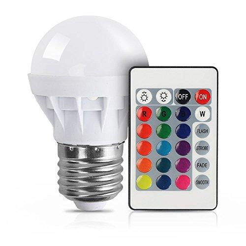 mpe XJLED Magic Dimmbare 3W LED RGB Glühbirne E27 Fassung mit RGB und Kaltweißem Licht, 16 Farben, 160°Abstrahlwinkel RGB Glühbirne mit Fernbedienung (Farbige Glühbirnen)