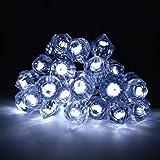 OxyLED Solar Lichterkette,20 LED Solar Garten Lichterkette Außen sbeleuchtung Diamant-Form Beleuchtung Deko für Fest Halloween,Hochzeiten,Feiern, Weihnachten Weiß