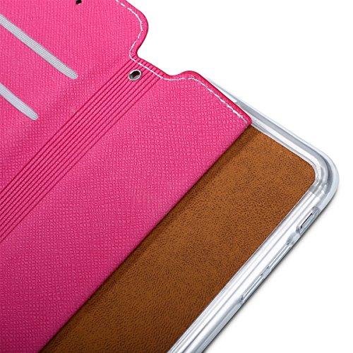 Custodia per Apple iPhone 6, ISAKEN iPhone 6S Flip Cover, 4.7 inch Custodia con Strap, Elegante Sbalzato Embossed Design in Pelle Sintetica Ecopelle PU Case Cover Protettiva Flip Portafoglio Case Cove Vine: roseo