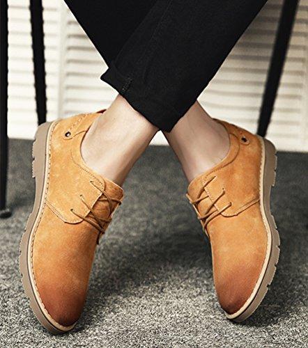 Anguang Hommes Lacer Bottes Entreprise Bureau Décontractée Robe Cheville Chaussures Marron