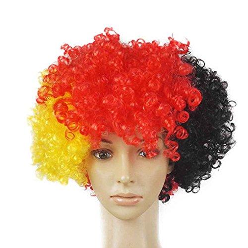 Babysbreath17 Regenbogen-Fußball-Fußball-Ventilator-Perücke-Kopf-Kopf Carnival Festival Clown Kostüm Wellenförmige künstliche gefälschtes Haar # 2 (Lustige Halloween Kostüme Für Arbeit)