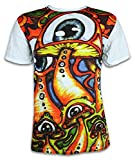 Sure Herren T-Shirt Magische Zauber-Pilze Magic Mushrooms Goa Psychedelic Art LSD Party (Weiss XL)