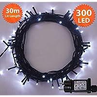 Fata luci di Natale 300 LED luminosi bianco albero luci interne ed esterne uso,funzione di memoria, alimentazione luci fata 29.9m/98.1ft illuminato lunghezza- cavo filo verde