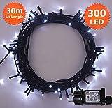 Weihnachts-Lichterketten 300 LED helle weiße Baum-Lichter Innen- und im Freiengebrauch Weihnachtsschnur-Lichter Gedächtnisfunktion, Netzbetriebene feenhafte Lichter 30m/98ft Lit-Länge - Grünes Kabel