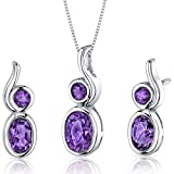 Revoni Bezel Set 2.50 carats Oval Shape Sterling Silver with Rhodium Finish Amethyst Pendant Earrings Set