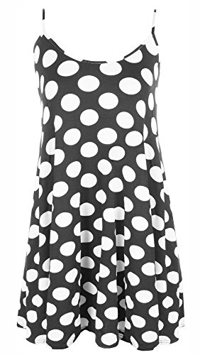 Re Tech UK Womens Ladies Sleeveless Long Printed Camisole Cami Strappy Swing Dress Vest Top Flared (XXL 20-22, Polka Dot Spots)