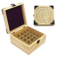 azurely Wooden Essential Oil Storage box, Essential Oil Organizer Storage Box Case Essential Oil Case set with Detachable compartment, 25 grid four corner black Essential oil box with pattern